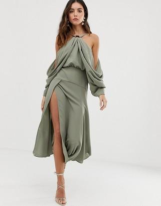 ASOS EDITION drape sleeve midi dress with ring detail