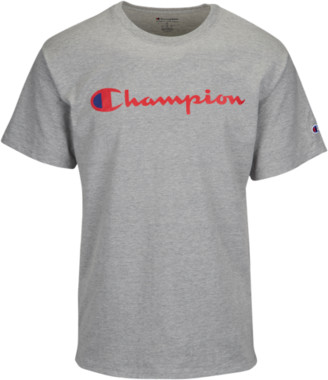 Champion Cotton Script Logo T-Shirt - Grey / Red