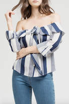 Blu Pepper Stripes Ruffle Top