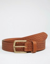 Asos Leather Belt With Braid Emboss