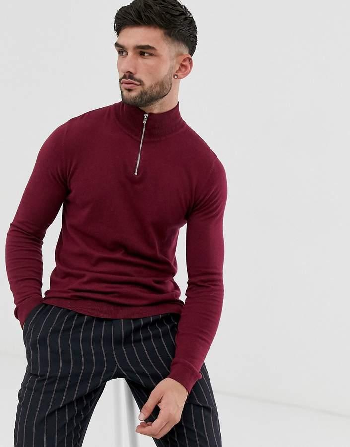 e4e4c464583 Design DESIGN knitted cotton half zip jumper in burgundy