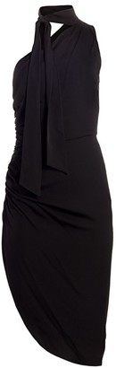 Milly Coleen Tie-Neck One-Shoulder Sheath Dress