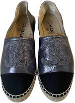 Chanel Grey Leather Espadrilles