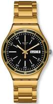 Swatch YGG705G Men's Charcoal Medal Yellow Charcoal Dial Gold Tone Steel Watch