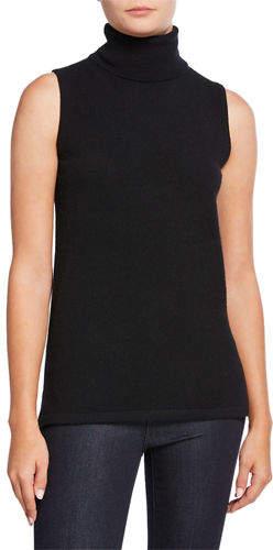 Neiman Marcus Cashmere Sleeveless Turtleneck Sweater