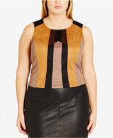 City Chic Trendy Plus Size Faux-Suede Colorblocked Top
