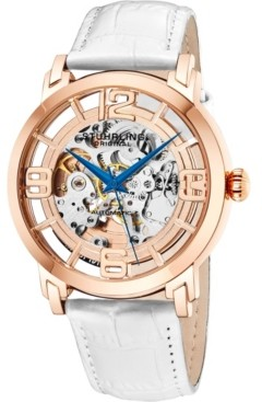 Stuhrling Original Stainless Steel Rose Tone Case on White Alligator Embossed Genuine Leather Strap, Rose Tone Dial, With Blue Accents