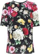 Dolce & Gabbana Floral-printed crêpe top