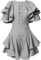 Acler Houndstooth ruffled mini dress