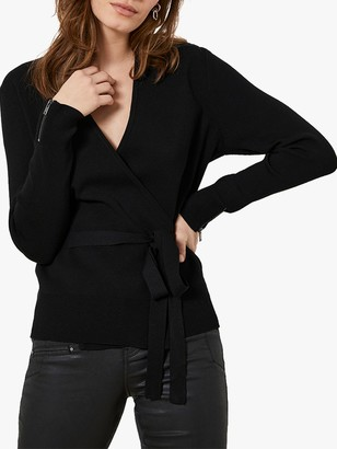 Mint Velvet Tie Front Cardigan, Black