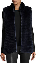 Gorski Quilted Rabbit Fur Reversible Down Vest, Navy
