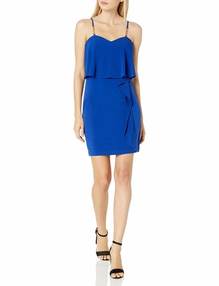 GUESS Women's Jersey Dress with Strap and Cascading Fabric Detail