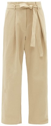 Raey Fold Cotton And Linen-blend Chino Trousers - Tan