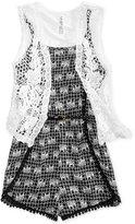 Beautees 2-Pc. Elephant-Print Romper & Crocheted Vest Set, Big Girls (7-16)