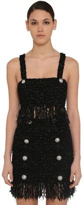 Balmain Fringed Lurex Tweed Crop Top