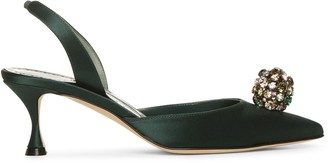 Manolo Blahnik Kavasli 50 green satin slingback pumps