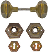 Rejuvenation Brass Hexagonal Door Knob Set w/ Rosettes and Escutcheons c1920