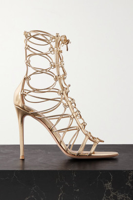 Gianvito Rossi 105 Metallic Leather Sandals - Gold