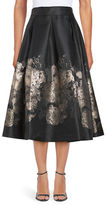 Eliza J Metallic-Accented Pleated Midi Skirt