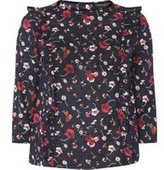 Dorothy Perkins Womens Multi Coloured Frill 3/4 Sleeve Ditsy Top- Blue