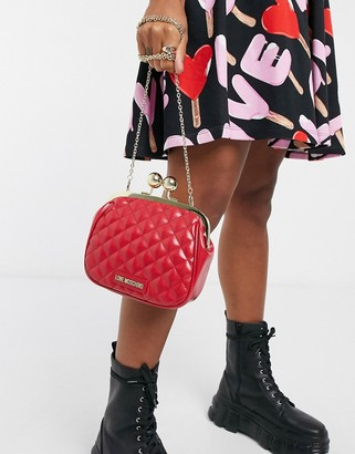 Love Moschino shiny quilted bag with clasp in red