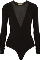 Michael Kors Mesh-paneled Stretch-jersey Bodysuit - Black