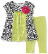Kids Headquarters Green & Black Damask Tunic & Capri - Infant Toddler & Girls