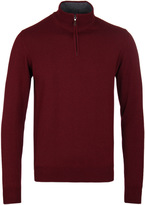 Hackett Burgundy Funnel Neck Merino Knit Sweater