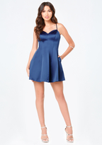 Bebe Satin Strappy Dress
