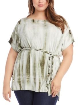 Karen Kane Plus Size Belted Tie-Dyed Tunic Top