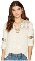 Lucky Brand Lace-Up Embroidered Top Women's Clothing