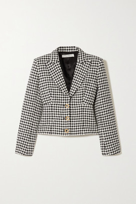 Alessandra Rich Sequin And Crystal-embellished Houndstooth Tweed Jacket - Black
