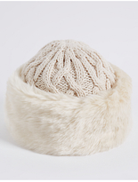 M&S Collection Faux Fur Cable Knit Winter Hat