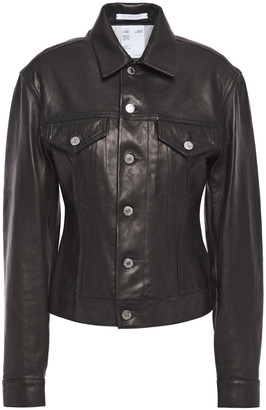 Helmut Lang Femme Trucker Leather Jacket