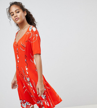 Y.A.S Tall floral high neck midi dress with laced back-Multi