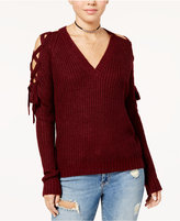 Polly & Esther Juniors' Lace-Up-Sleeve Sweater