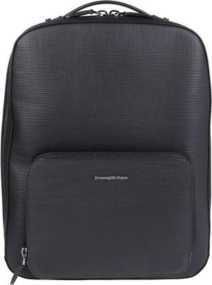 Ermenegildo Zegna Black Leather Backpack