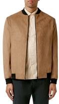 Topman Men's Faux Suede Bomber Jacket