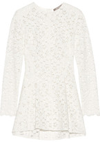 Lela Rose Cotton-blend Guipure Lace Peplum Top - White