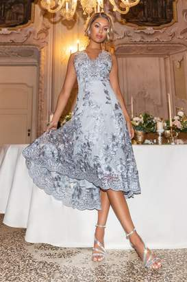Quiz Grey Embroidered Dip Hem Dress