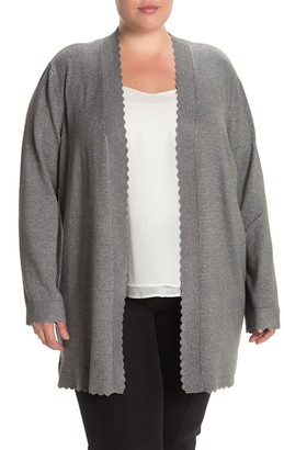 Cyrus Scalloped Edge Open Front Cardigan (Plus Size)
