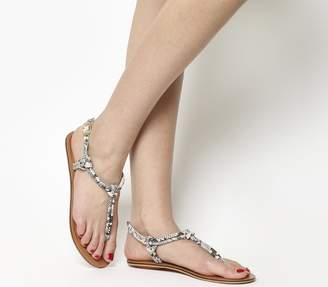 Office Sushi Toe Post Sandals Snake Leather