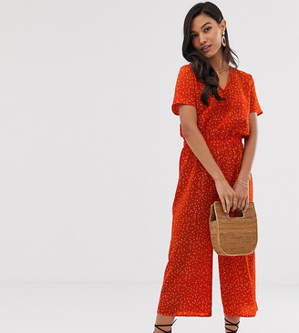 Ichi spotty loose fit jumpsuit-Red