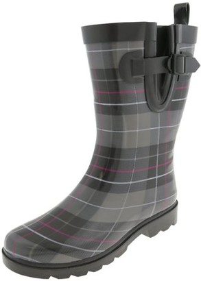 ONLINE Shiny Classic check Printed Mid Calf Rubber Women Rain Boot