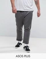 Asos Plus Skinny Chinos In Mid Grey