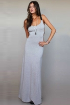 Blue Life Cut Out Long Sexy Dress in Heather Grey