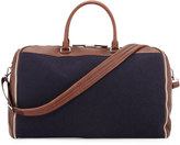 Brunello Cucinelli Buffalo Leather and Flannel Garment Duffel Bag, Navy