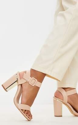 PrettyLittleThing Nude Wide Fit Metal Heel Detail Block Heel Sandal