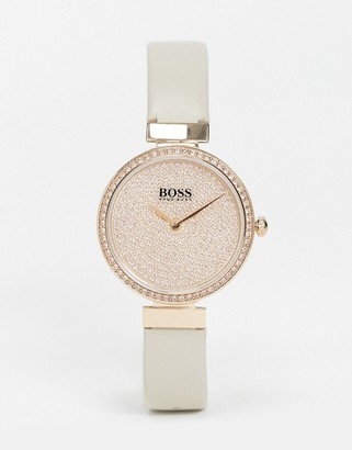HUGO BOSS leather watch and bracelet gift set