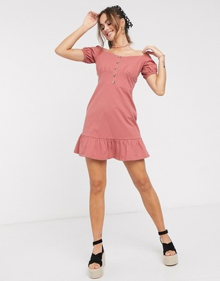 ASOS DESIGN cupped off the shoulder tiered mini dress in rose